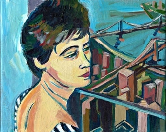 "Woman in World Trade Center NY, Giclee Print from my original Painting, 8 x 10"" New York City, Signed."
