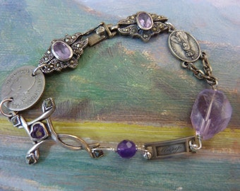 BEAUTIFUL MARY antique assemblage sterling rosary cross amethyst  bracelet