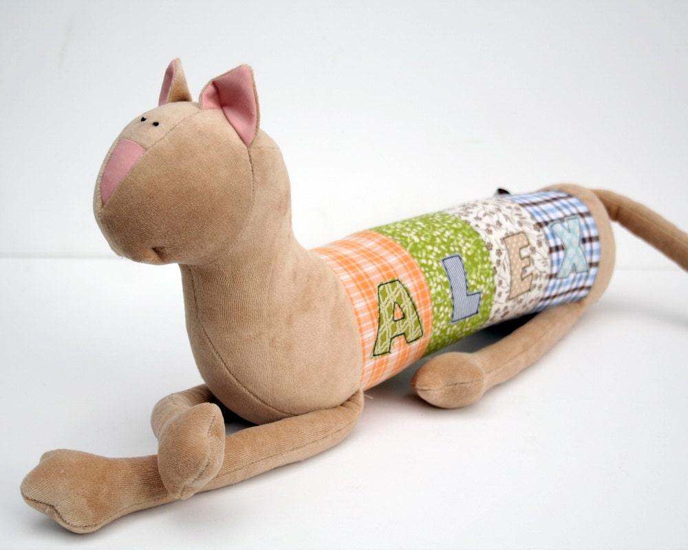 Meow Cat, Personalized Kitty, Long Plush Kitten stuffed animal, plush toy, personalized stuffed animal