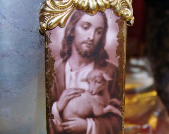 Jesus and the lamb artisan pendant diy jewelry making by Pamelia Designs *religious* Sacred Jewelry