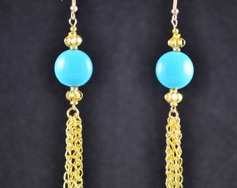 Fashionable Blue And Gold Earrings