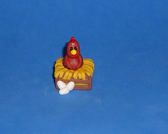 Polymer Clay Red Hen in Crate Nest
