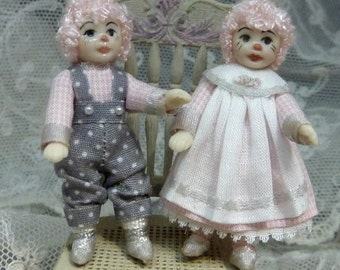 Miniature Dollhouse Raggedy Ann and Andy  RESERVED