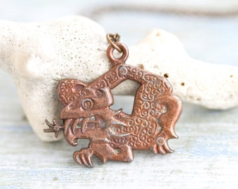 Copper Dragon Necklace - GOT Pendant on Long Chain