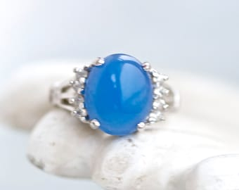 Blue Stone Sterling Silver Ring - Size 6.5 - Vintage Lind Jewelry