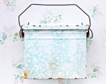 Antique Enamelware French Lunchbox - Speckeld Turquoise - Farmhouse Rustic Decor