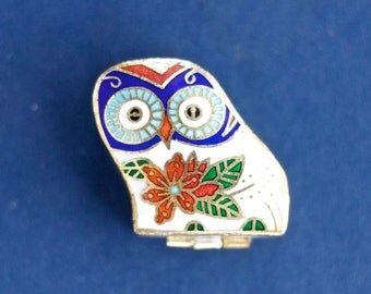 Owl Pill Box - Cloisonne Little Snuff Box