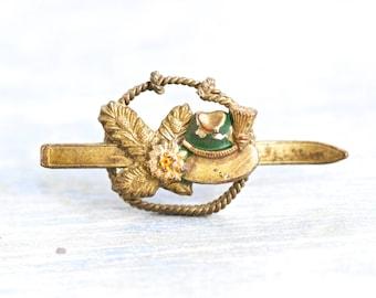 Bavarian Hat Brass Pin - Ski Hat and Edelweiss - Lets go Hiking - Antique Alpine Brooch - Octoberfest Souvenir