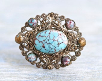 Antique Turquoise lapel Pin - Gothic Dark Filigree with Oval Stone Brooch