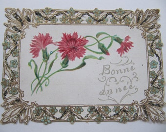 Victorian greeting card, Happy New Year postcard, early 1900's French greeting cards, antique card w/ cut outs and glitter, Bonne Année card