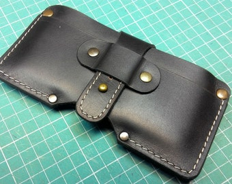 New original model wallet sleeve genuine leather iPhone 6  or other cell phone / case with card holder initials belt loop