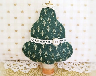 "Christmas Tree Ornament Fabric Tree Ornament  5"" Free Standing Green Print Tree Ornament CIJ Christmas July Home Decor CharlotteStyle"
