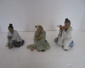 3 Asian Themed Ceramic Statues, Old Man w/ Tea, Flute Player & The Scholar, China
