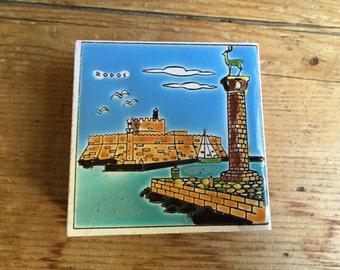 Rodos Rhodes Greek Fortress Colossus Tile Match Cigarette Box