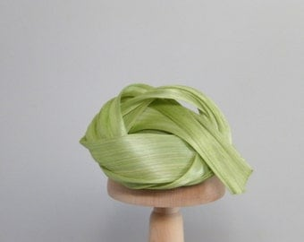 Light green fascinator / cocktail hat for women / sculpture Abaca straw summer hat / unusual hat OOAK headband