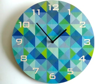 Objectify Grid2 Blue-Green Plywood Wall Clock - Large