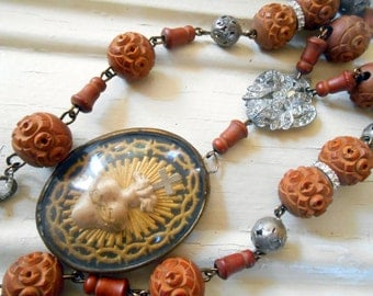 ON LAYAWAY: French Reliquary Assemblage Necklace, Antique Silk Ex Voto, Monastic Wood Rosary, Paste, Repurposed, Upcycled, Recycled