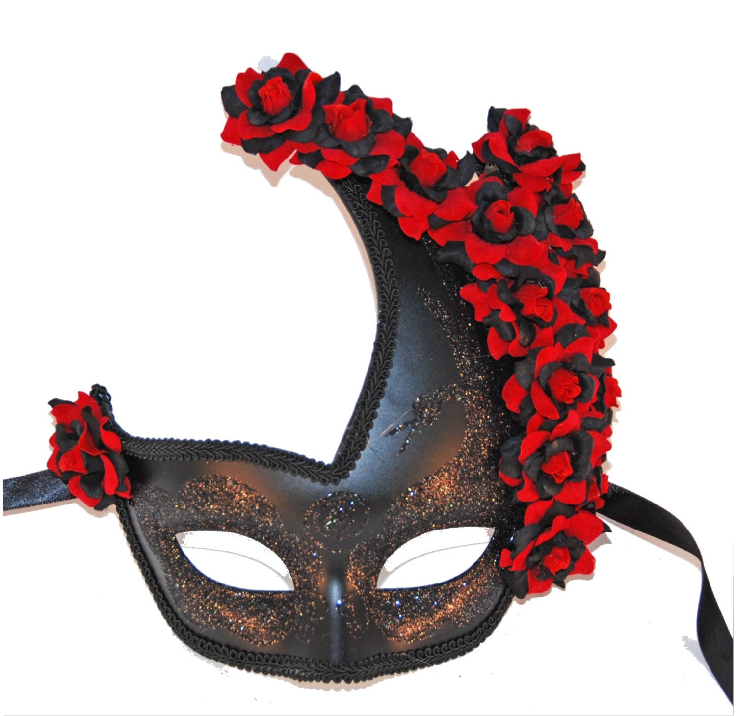 Black Masquerade Mask with Red and Black Roses Costume Ball