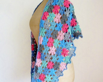 Flower scarf crochet triangle shawl crochet floral scarf