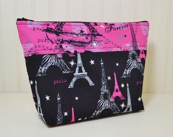 Eiffel Tower Theme Cosmetic Bag - Paris Forever Stand up Makeup Bag - Medium Toiletries Zipper Pouch - Craft Project Bag - Black White Pink