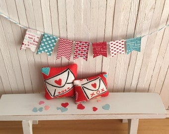 Miniature Valentine Pillow Set And Bunting/Banner