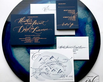 Custom Handwritten Calligraphy Letterpress Wedding Invitation Suite - copper foil press custom design - customizable invitations