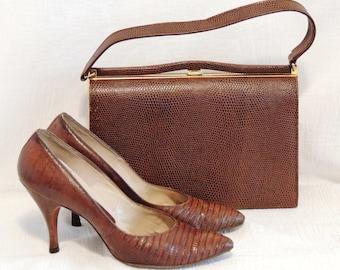 Vintage Leather Stilettos, Size 8, Baby Croc or Lizard