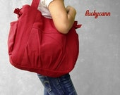 Winter Sale 15%off IRIS // Red / Lined with grey stripes // 0531 // Luckycann // Canvas Bag //