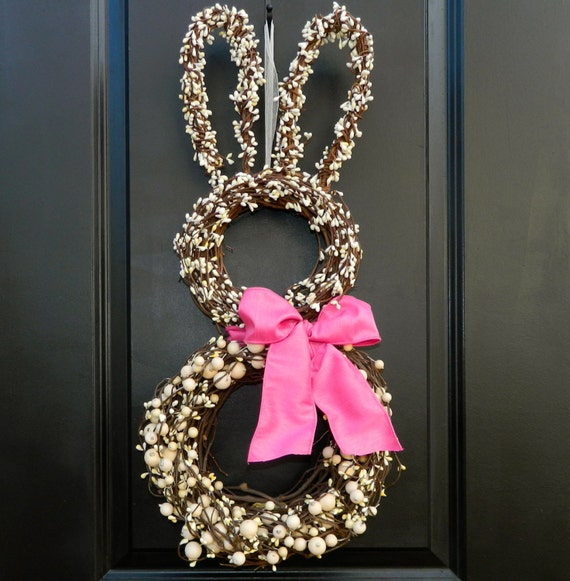 Easter Wreath - Bunny Wreath - Spring Wreath  - Easter Decoration - Choose Bow Color