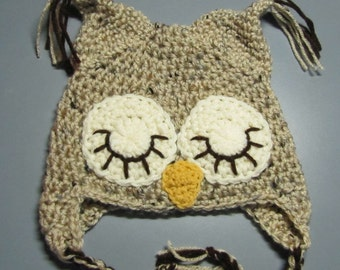 owl hat for 6 to 12 months in speckled buff