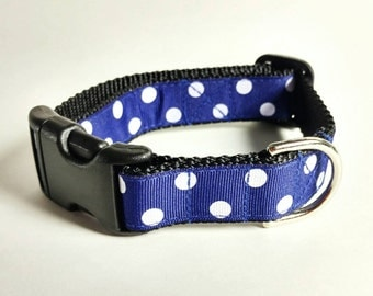 Dog Collar or Martingale - White Polka Dots on Dark Blue -Choose From Many Sizes