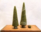 Felted Fall Decorations, Needle Felted Trees, Moss Green, Fall Centerpiece, Winter Tree, Rustic, Woodland Theme
