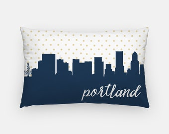 Portland Oregon pillow   Portland skyline pillow   city skyline pillow   Oregon home decor   Portland home decor   gold polka dot pillow