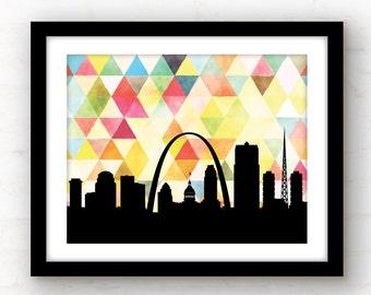 St Louis skyline print | geometric triangle St Louis art | St Louis print | St Louis, MO print | Saint Louis art | St Louis wall art