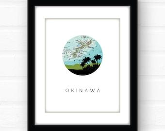 Okinawa map | Okinawa poster | Okinawa Japan poster | Okinawa Japan map | Asia city skyline print | Japanese city print