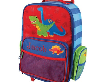 Embroidered Dinosaur Rolling Luggage [back to school, dinosaur, luggage, backpack, boys, rolling, school, elementary, blue, red] -gfyE000276