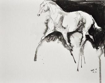 Original Fine Art, Trotting Horse Black Ink Drawing, Equine Art, Contemporary Art, Modern Art