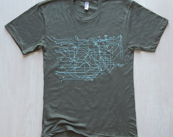 Tokyo T-Shirt - Army Green/ Light Blue