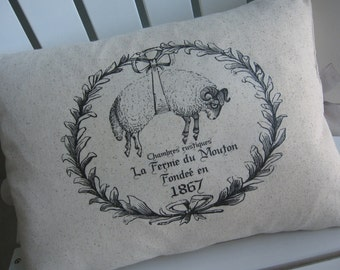 French Country, Pillows, Rabbit, Sheep, Lamb, French, Farmhouse Chic, Decorative Pillows, Bunnies, Rabbits, Black and White Pillows, Garden