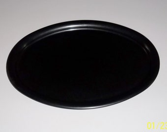 1940s Bakelite Tray, Black Personal Serving Tray, Oval Puristic, Germany.