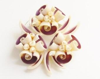 Large Vintage Shell Flower Brooch 1950s Purple Cream