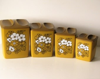 Vintage Mustard Yellow and Brown Canisters - Set of Four