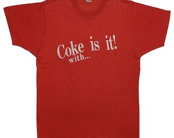 Coca Cola 1980s Coke Is It! With... t Shirt Vintage 80s Original soda pop tee