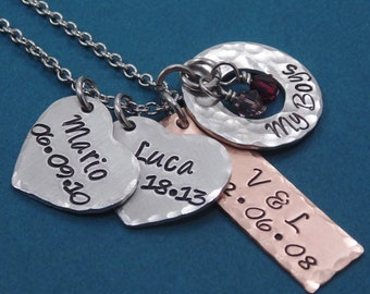 Hand Stamped Mommy Necklace - Personalized Jewelry - Custom Jewelry - Name Necklace