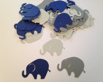 50 Large Navy Gray Elephant, Elephant Die Cut, Elephant Cut Out, Elephant Cupcake Topper, Navy Elephant, Gray Elephant, Elephant Birthday