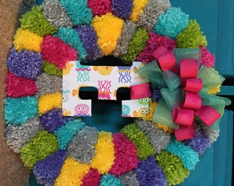 Customized Pom Wreath - Pick Your Own Colors and Initial