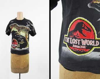Vintage 90s Lost World T-shirt Jurassic Park 2 Movie Tee Made in USA - Small / XS