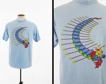 Vintage Chinese Dragon T-shirt Sky Blue Mythology Made in USA - Size XL