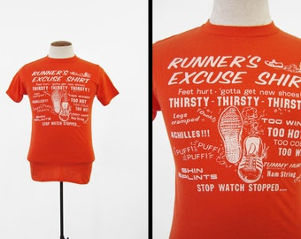 Vintage Runner's Excuse T-shirt 1980 Safety Orange Marathon Soft and Thin - Small / Med