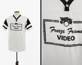 Vintage 80s Video Store T-shirt Freeze Frame Rental White Jersey - Size Large